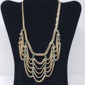 Gold-tone Chain Bib-style Statement Necklace
